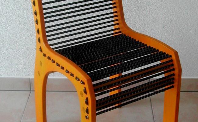 Design-Stuhl mit Gummi-Seil-Bespannung, Gelb