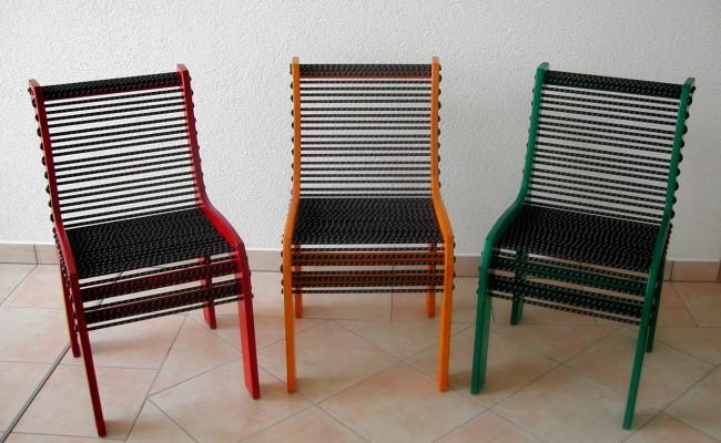 Design-Stuhl, Gummi-Seil-Bespannung, 3er Set