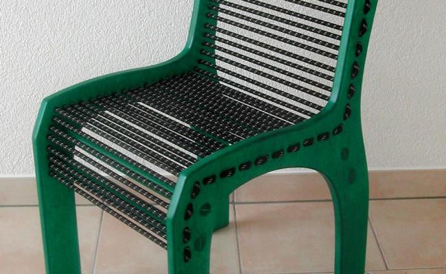 Design-Stuhl mit Gummi-Seil-Bespannung, Gün